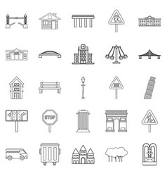 Mart icons set outline style vector