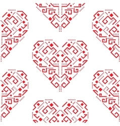 Navajo red heart shape ornament seamless vector
