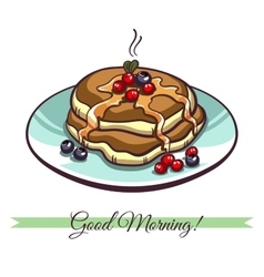 Pancakes with syrup and berries vector