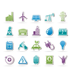 Power energy and electricity Source icons vector image vector image