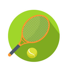 Racket and ball icon logo for tennis web button vector