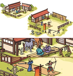 Samurai Training Camp vector image vector image