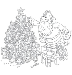 Santa decorates a Christmas tree vector image vector image