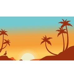 Silhouette of palm on the hill vector image vector image