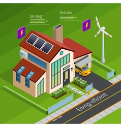 Smart home energy generation isometric poster vector