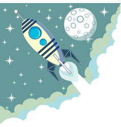 Space rocket flying in space with moon and stars vector