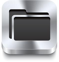 Square metal button perspektive - folder icon vector