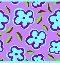 Summer seamless pattern with leaves and flowers vector