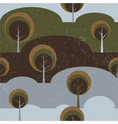 Trees on glade seamless pattern background vector image vector image