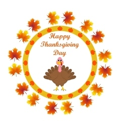 Turkey in the autumn leaves wishes everyone vector image