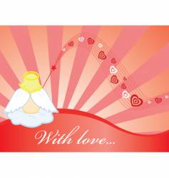 wallpaper with angel and hearts vector image