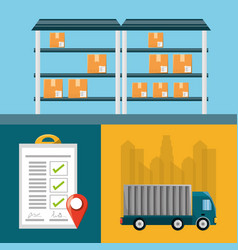 Warehouse checklist and cargo truck vector