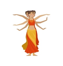 Women performing 1000 arms indian dance vector