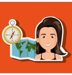 Woman map world global travel vector