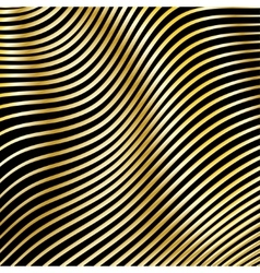 Wavy strips of golden color on a dark background vector