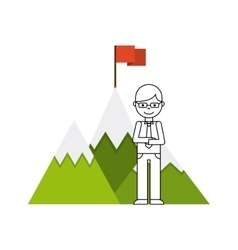 Mountain success flag icon vector