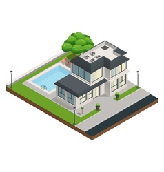 Suburban house isometric composition vector