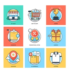 Flat color line design concepts icons 30 vector