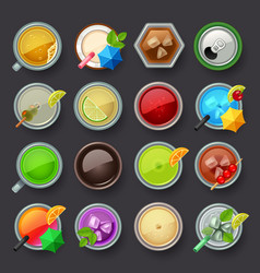 Alcohol beverage and cocktail icon set vector