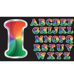 Colorful rainbow alphabet with silver frame vector