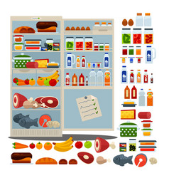 Open fridge full of delicious food and drinks vector