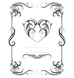 Vintage frame with heart shape vector