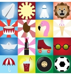 Collection of retro icons for designflat style vector