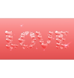 Pink heart lettering vector