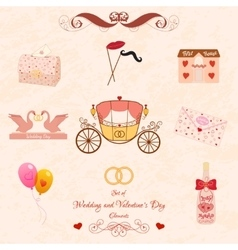 Set of wedding and valentines day elements vector