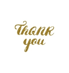 Hand drawn ink thank you card gold glitter vector