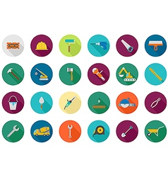 Construction round icons set vector