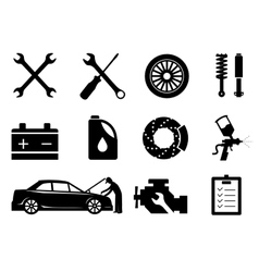 Car maintenance and repair icon set vector image