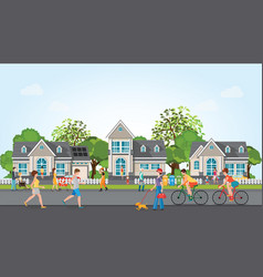 activities of people in modern village vector image vector image