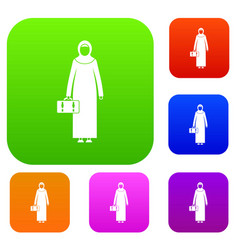 Arabic woman set collection vector