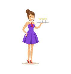 Beautiful waitress holding a tray with refreshing vector
