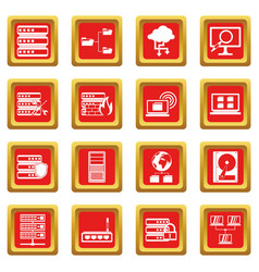 Big data icons set red vector