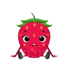 Big eyed cute girly strawberry character sitting vector