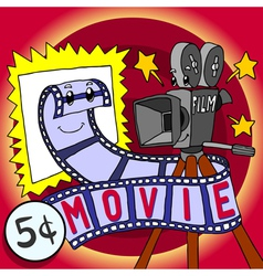 Cartoon skit movie film and cinecamera happy vector