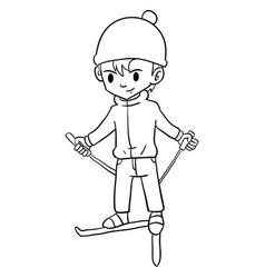 Character of boy playing ski vector