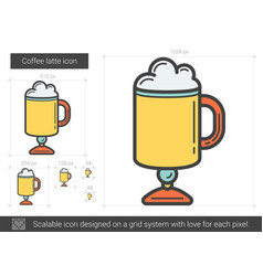 Coffee latte line icon vector