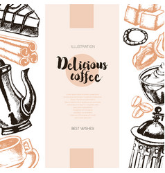 Delicious coffee - color hand drawn composite vector
