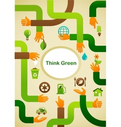 Ecology - Think green background with hands and vector image