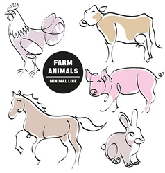farm animals minimal hand drawn set of pictures vector image