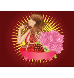 Girl with gift box and ribbon vector image vector image