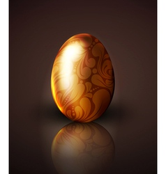 Golden easter egg with ornament vector