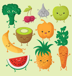 happy cartoon fruits and garden vegetables with vector image vector image