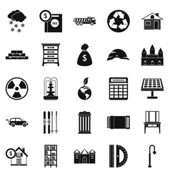 Higher society icons set simple style vector