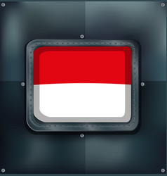 Indonesia flag on metal wall vector