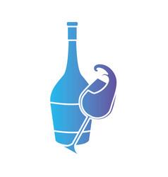 Line wine bottle and glass splashing beverage vector