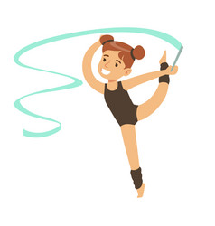 Little girl doing gymnastics exercise in class vector